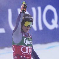 Italy's Sofia Goggia arrives at the finish area during an alpine ski, women's World Cup downhill in St. Anton, Austria, Saturday, Jan. 9, 2021. (AP Photo/Giovanni Auletta)